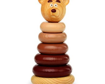 Bear pyramid - Learning Toy - Montessori toddler toy - Toddler birthday gift - Wooden toy - Educational toy