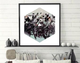 Geometric Print, Abstract, Geometric, Sacred Geometry, Prints, Art, Posters, Wall Art, Boho, Zen, Modern, Hexagonal, Downloadable, Printable
