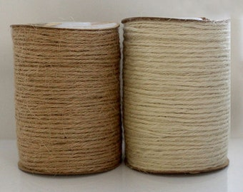 Jute String 2mm (PER METRE) - Black, Ivory or Natural