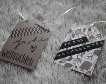 Gift tags, label, tag - set of 10, 2 in 1 design