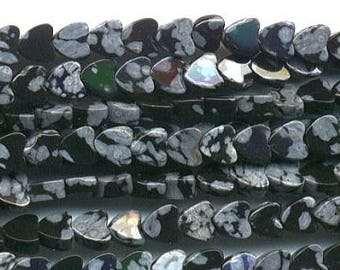 Snowflake Obsidian - small hearts 4 mm - line 40 cm