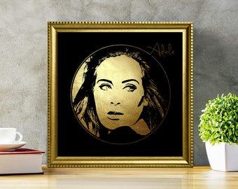 Adele in Gold - Adele - Adele Print - Adele Poster - Personalities Portraits - Adele art - Adele illustration - black and gold - diva