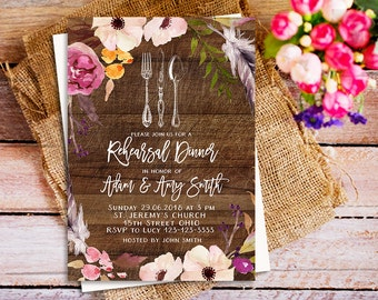Printable Rehearsal Dinner Invitation, rustic rehearsal dinner invitation, Wedding Rehearsal Dinner party, rehearsal dinner ideas, dinner