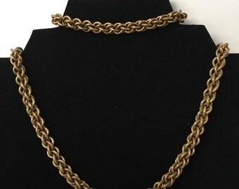 Brass chunky necklace and bracelet set