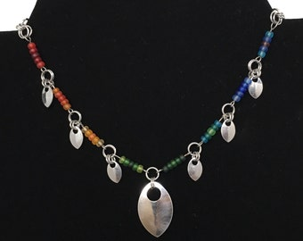 Rainbow Beads and Scales Choker