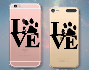 LOVE Paw Animal Lover Dogs Puppies Cats Kittens Pets Dog Transparent Clear Rubber Case for iPhone 7 6s 6 Plus SE 5s 5 5c iPod Touch