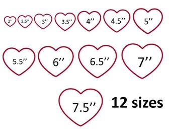 heart applique design, machine embroidery design, applique embroidery design, instant download, 12 sizes