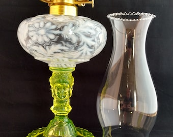 Vaseline Glass and French Opalescent Three Face Pattern Glass Oil Lamp Made in the USA. Great Wedding Gift