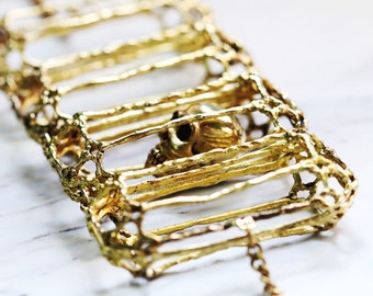 Rough Diamonds Skull Collection - The Uncommon Defy Project - Brass - Skull Diamond Skeleton Bracelet - UCBB101 - Original by Defy