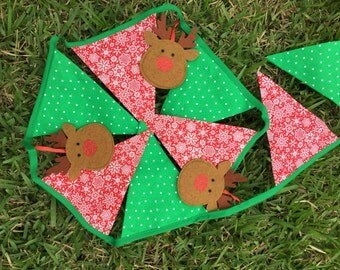 Christmas Bunting/ Red and green Christmas bunting/ Christmas banner/ Christmas reindeer pennants