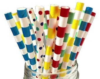Paper Straws, Assorted Straws, Building Blocks Theme, Building Blocks, Birthday Party, Party Decoration, Party Decor, Building Blocks 25 pkg