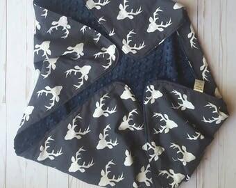 Navy Blue Deer minky Baby Blanket- woodland baby gift, baby shower gift, minky baby blanket, baby bedding, baby nursery, stroller blanket