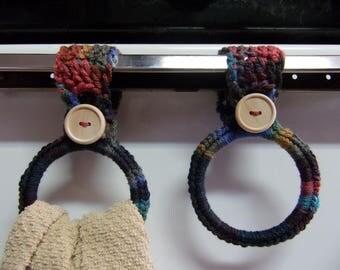 crocheted hanging towel holders set of 2, kitchen towel ring, hand towel holder, dorm room decor, RV towel holder, towel holders