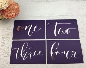 Purple Table Numbers - Table Markers - Wedding Table Decor - Purple Table Decor -Eggplant Table Markers - Silver Table Markers - Wedding