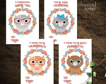 Cat Valentine Cards    Class Valentines    Hipster Cat Valentines    Printable Set of Cats in Glasses Punny Valentines Day Cards   Silly Cat