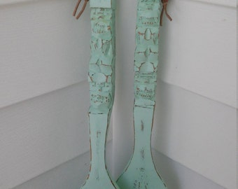 A Vintage Large Wood Tiki-Totem Fork And Spoon Wall Hanging, Up-Cycled In Mint Green