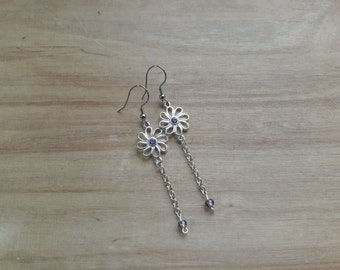 Purple flower earrings with chain drop