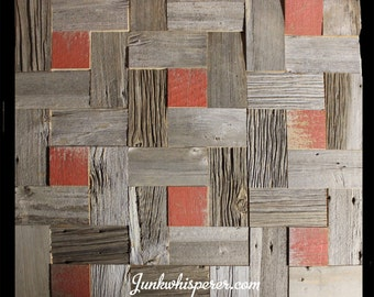Reclaimed Barn Wood Tiles, Flanders Pattern with Red Sq, Grey Barn Board, Old Century, Architectural Salvage, Wall Art by Junkwhisperer.com