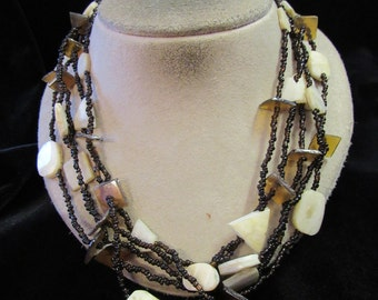 Vintage Chunky Multi Stranded Brown Glass Beaded Shell Necklace