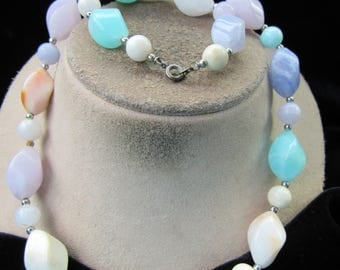 Vintage Chunky Multi Pastel Colored Beaded Necklace