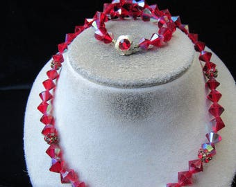 Vintage Red Iridescent Glass Crystal Beaded & Red Rhinestone Necklace