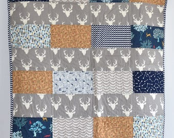 SHIPS TOMORROW! SALE - woodland quilt, antlers, deer, forest, baby quilt