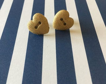 Gold Glitter Heart Button Stud Earrings - Button Earrings - Heart Earrings - Glitter Earrings