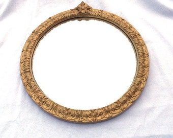 """Gold Convex Wall Mirror , Mid Century French Round or Circular Mirror, Ornate Leaf Pattern, 16.25"""" Gesso Frame, 13.5"""" Spherical Convex Glass"""