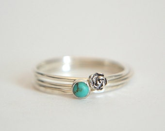 Sterling Silver Rose Ring, Sterling Silver Turquoise Ring, Opal Ring, Sterling Silver Turquoise Ring, Stackable Ring, Stacking Ring