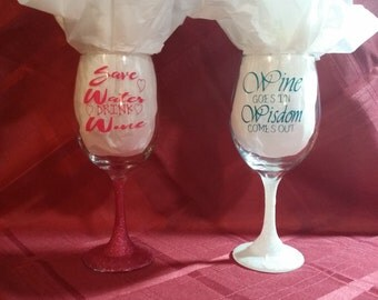 fun saying wine glasses