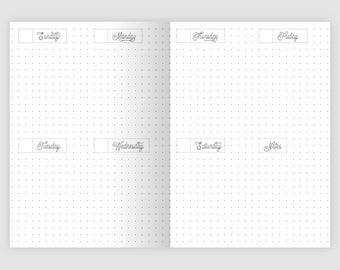 A6 Printable Insert Weekly View Dot Grid - Traveler's Notebook Printable Planner PDF