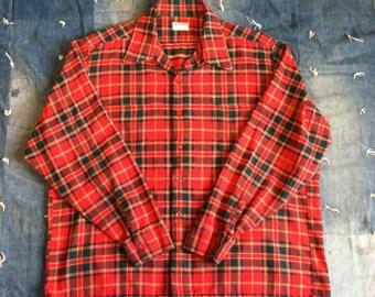 Vintage Shirt - 1950s McGregor Red Tartan Plaid Shirt XL