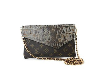 Louis Vuitton Upcycled Crossbody Bag!  Original Design by The Palm Beach Closet LV Logo, Fringe Steerhead, Croc Embossed, Kiwi, Triangle*