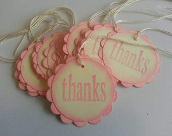 12 thank you tags, Gift tags, Girl baby shower favor tags, Pink baby shower tags