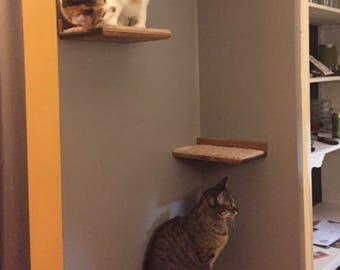 Floating Cat Shelf Set 3 pc.  / 1 Long, and 2 Short Shelves w/ Hidden Brackets
