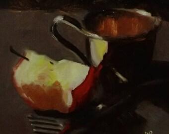 cup & apple - original oil painting