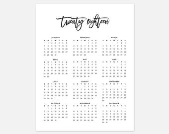 2018 Simple Calendar 2018 Landscape Calendar 2018 Calendar