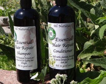 All Natural Hair Repair Shampoo and Conditioner, vegan, non-gmo, gluten free, 8 oz, 16 oz