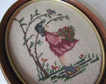 Vintage Framed Cross Stitch Picture Little Girl with Flowers