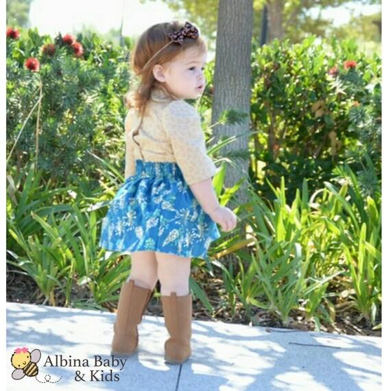 Blue skirt Stella- baby skirt -toddler skirt- Headwrap- head band-bloomers