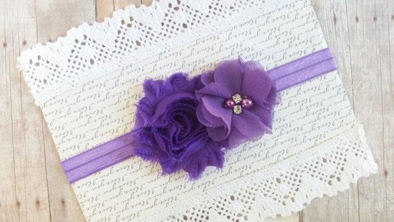 Purple Headband, Newborn Baby Headbands, Girls Headbands, Shabby Chic Headband, Hair Bows For girls, Baby Head Band, Toddler Headband