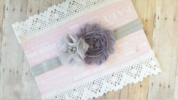 Baby Grey Headband, Shabby Chic Baby Headband, Vintage Baby Headband, Headband For Baby, Baby Headband Couture, Stylish Headbands For Girls
