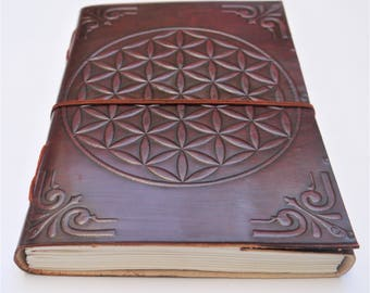 20 cm x 15 cm Leather journal, Flower of Life Journal, Notebook, Diary, Mandala notebook, Sketchbook.