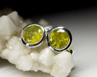 Grossular Silver Earrings art 8931 | Natural Organic  Green Garnet Sterling Silver Earrings Fine Jewelry