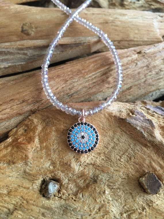 Evil Eye Pendant & Pink Champagne Crystal Necklace