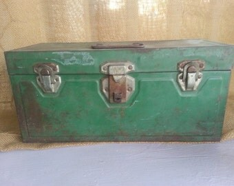 Green 1950s Metal Toolbox Comes With Tray Green Metal Box with Character