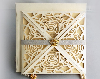 Listing for Brandi - egant laser cut rose flower invitation folding Wedding Invitation Free shipping-