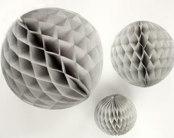 Grey tissue honeycomb balls - 12, 8, or 5 inch. Gray honeycombs. Light grey party decor. Gray party decoration. Grey tissue decor