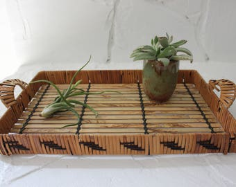 Vintage Rattan and Bamboo Serving Tray