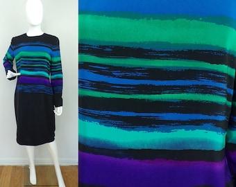 Vintage 1980s Anne Crimmins Striped Dress Size Large, Black Blue & Green Dress, Striped Dress. Silk Dress, Sheath Dress, Long Sleeve Dress